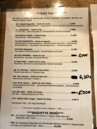 CiCi Vietnamese Baguette Koblenz Speisekarte